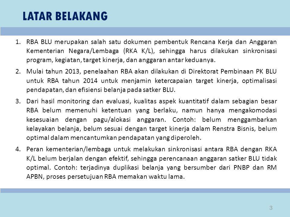 LATAR BELAKANG 1.RBA BLU merupakan salah satu dokumen pembentuk Rencana Kerja dan Anggaran Kementerian Negara/Lembaga (RKA K/L), sehingga harus dilaku
