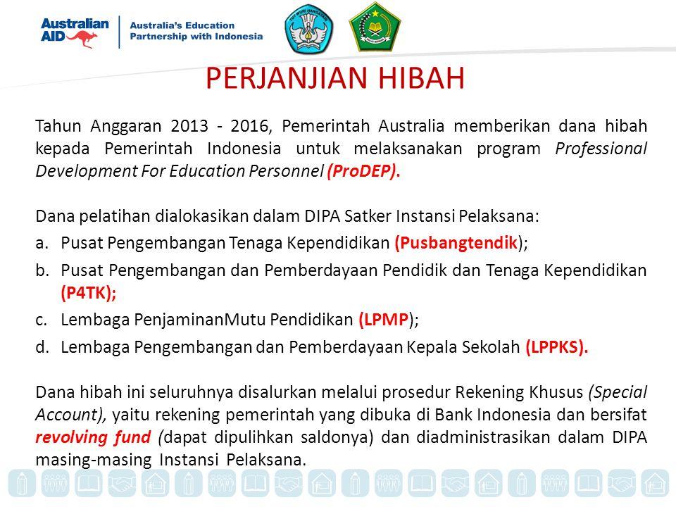 PERJANJIAN HIBAH Tahun Anggaran 2013 - 2016, Pemerintah Australia memberikan dana hibah kepada Pemerintah Indonesia untuk melaksanakan program Professional Development For Education Personnel (ProDEP).