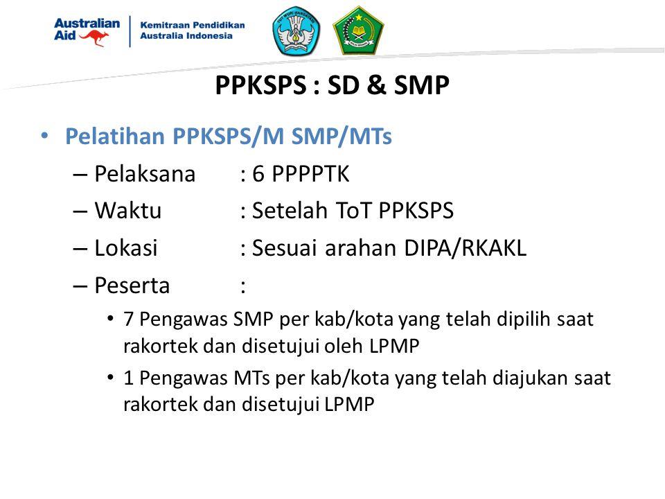 Pelatihan PPKSPS/M SMP/MTs – Pelaksana: 6 PPPPTK – Waktu: Setelah ToT PPKSPS – Lokasi: Sesuai arahan DIPA/RKAKL – Peserta: 7 Pengawas SMP per kab/kota yang telah dipilih saat rakortek dan disetujui oleh LPMP 1 Pengawas MTs per kab/kota yang telah diajukan saat rakortek dan disetujui LPMP PPKSPS : SD & SMP
