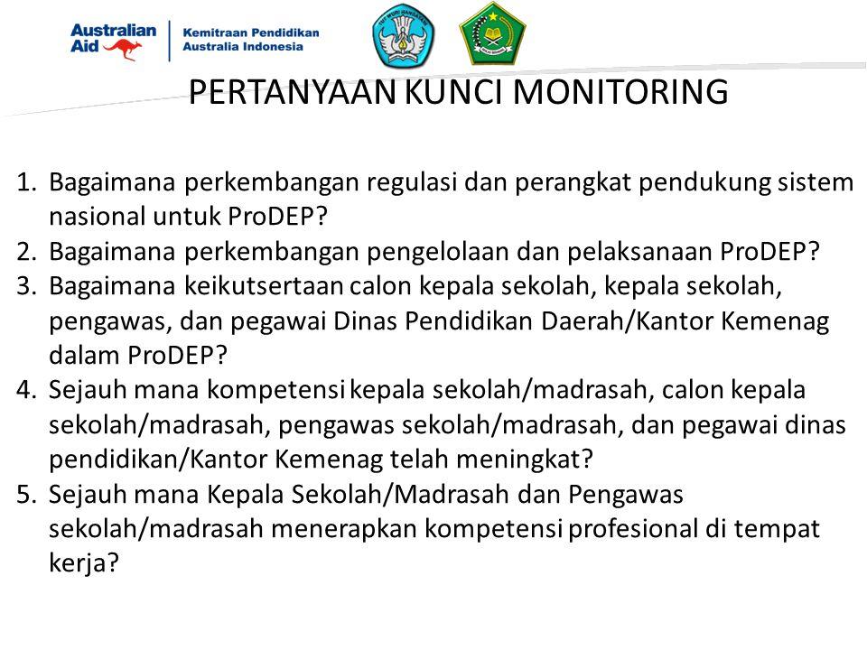 PERTANYAAN KUNCI MONITORING 1.Bagaimana perkembangan regulasi dan perangkat pendukung sistem nasional untuk ProDEP.