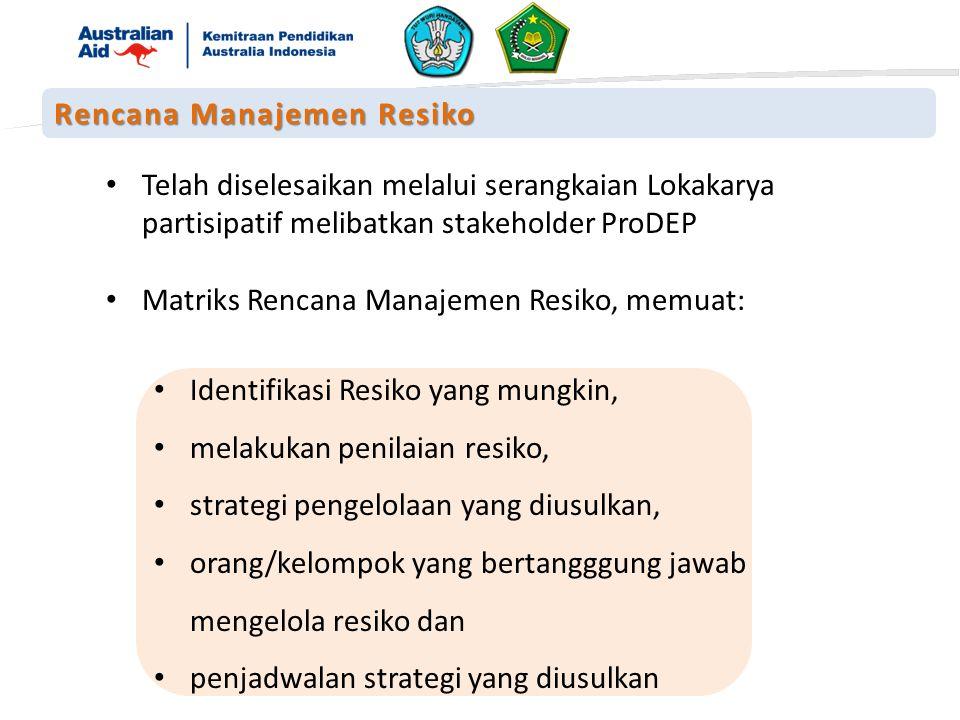 Telah diselesaikan melalui serangkaian Lokakarya partisipatif melibatkan stakeholder ProDEP Matriks Rencana Manajemen Resiko, memuat: Identifikasi Resiko yang mungkin, melakukan penilaian resiko, strategi pengelolaan yang diusulkan, orang/kelompok yang bertangggung jawab mengelola resiko dan penjadwalan strategi yang diusulkan Rencana Manajemen Resiko