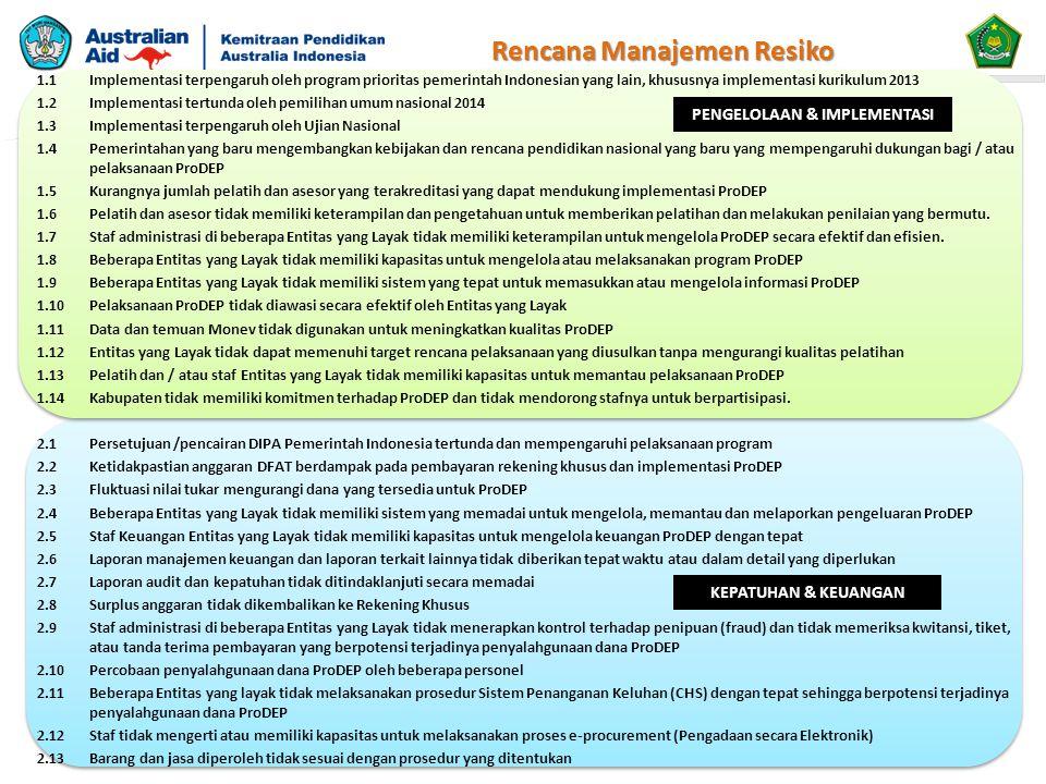 1.1Implementasi terpengaruh oleh program prioritas pemerintah Indonesian yang lain, khususnya implementasi kurikulum 2013 1.2 Implementasi tertunda oleh pemilihan umum nasional 2014 1.3Implementasi terpengaruh oleh Ujian Nasional 1.4Pemerintahan yang baru mengembangkan kebijakan dan rencana pendidikan nasional yang baru yang mempengaruhi dukungan bagi / atau pelaksanaan ProDEP 1.5Kurangnya jumlah pelatih dan asesor yang terakreditasi yang dapat mendukung implementasi ProDEP 1.6Pelatih dan asesor tidak memiliki keterampilan dan pengetahuan untuk memberikan pelatihan dan melakukan penilaian yang bermutu.