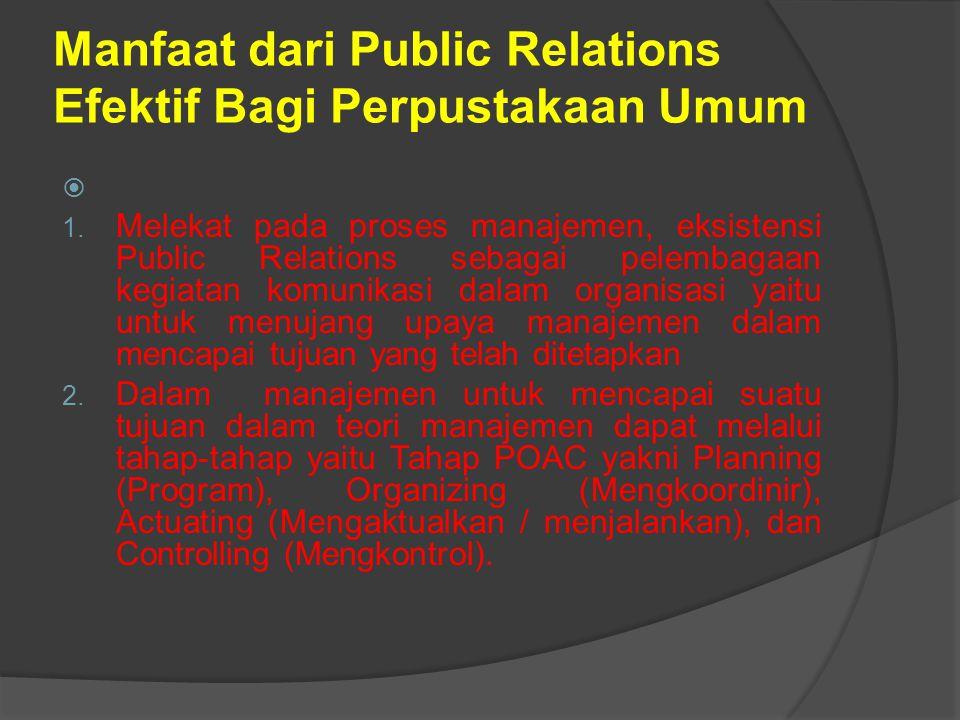 Manfaat dari Public Relations Efektif Bagi Perpustakaan Umum  1.