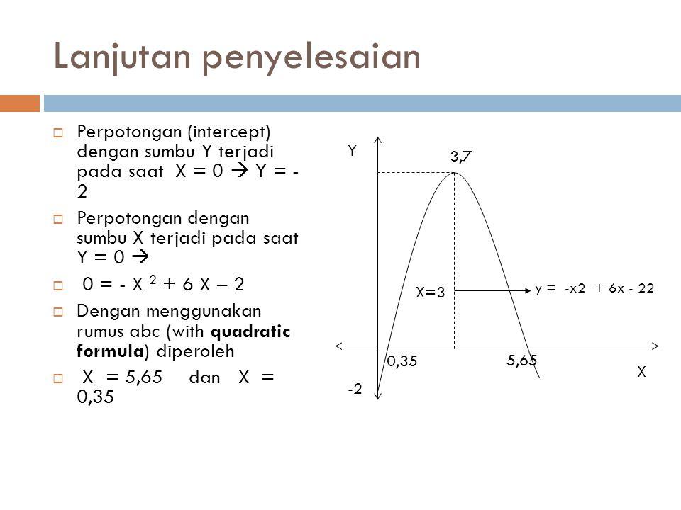 Lanjutan penyelesaian  Perpotongan (intercept) dengan sumbu Y terjadi pada saat X = 0  Y = - 2  Perpotongan dengan sumbu X terjadi pada saat Y = 0