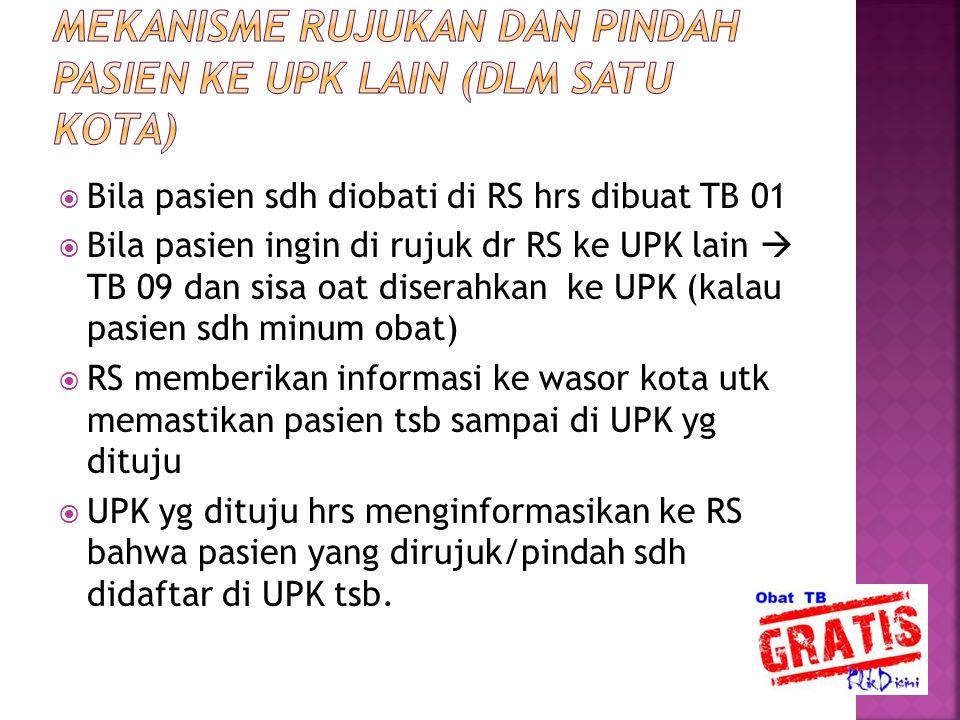  Bila pasien sdh diobati di RS hrs dibuat TB 01  Bila pasien ingin di rujuk dr RS ke UPK lain  TB 09 dan sisa oat diserahkan ke UPK (kalau pasien s