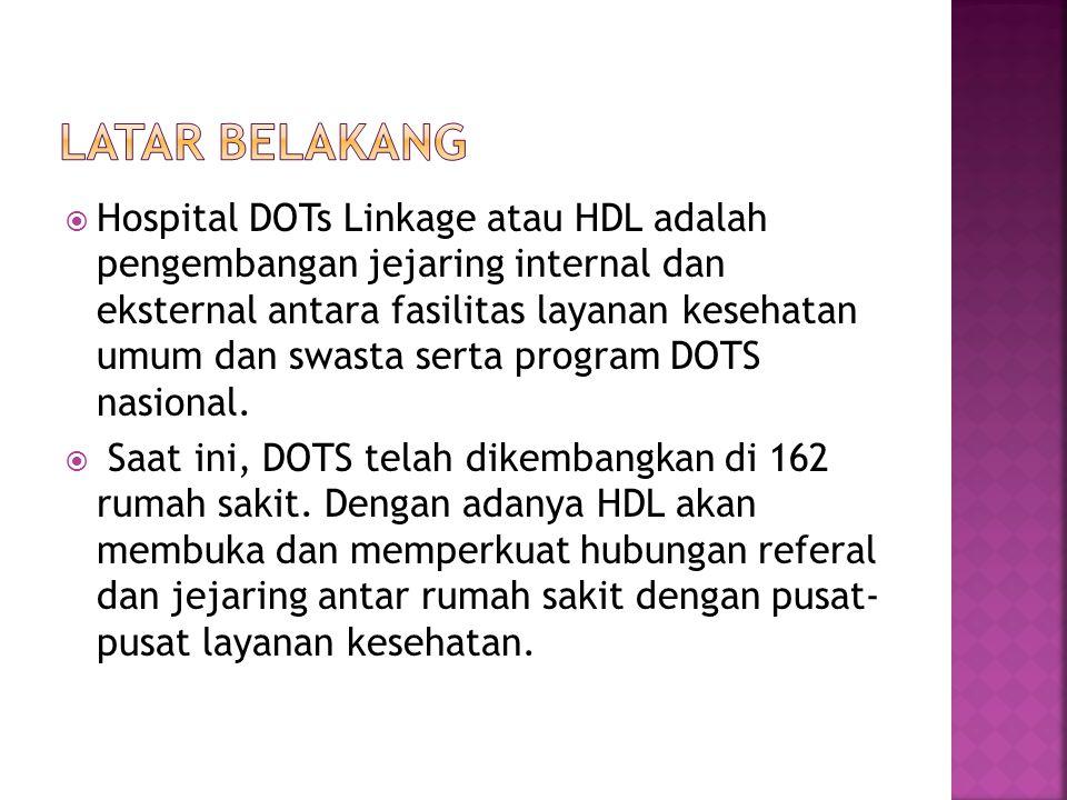  Hospital DOTs Linkage atau HDL adalah pengembangan jejaring internal dan eksternal antara fasilitas layanan kesehatan umum dan swasta serta program