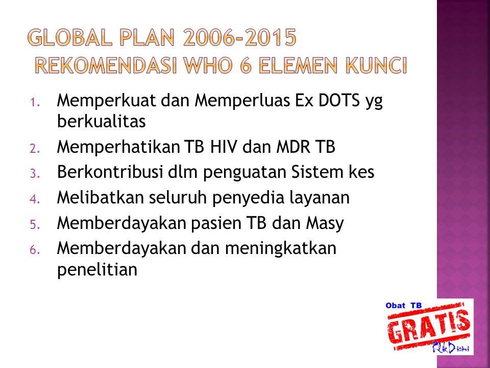 1. Memperkuat dan Memperluas Ex DOTS yg berkualitas 2. Memperhatikan TB HIV dan MDR TB 3. Berkontribusi dlm penguatan Sistem kes 4. Melibatkan seluruh
