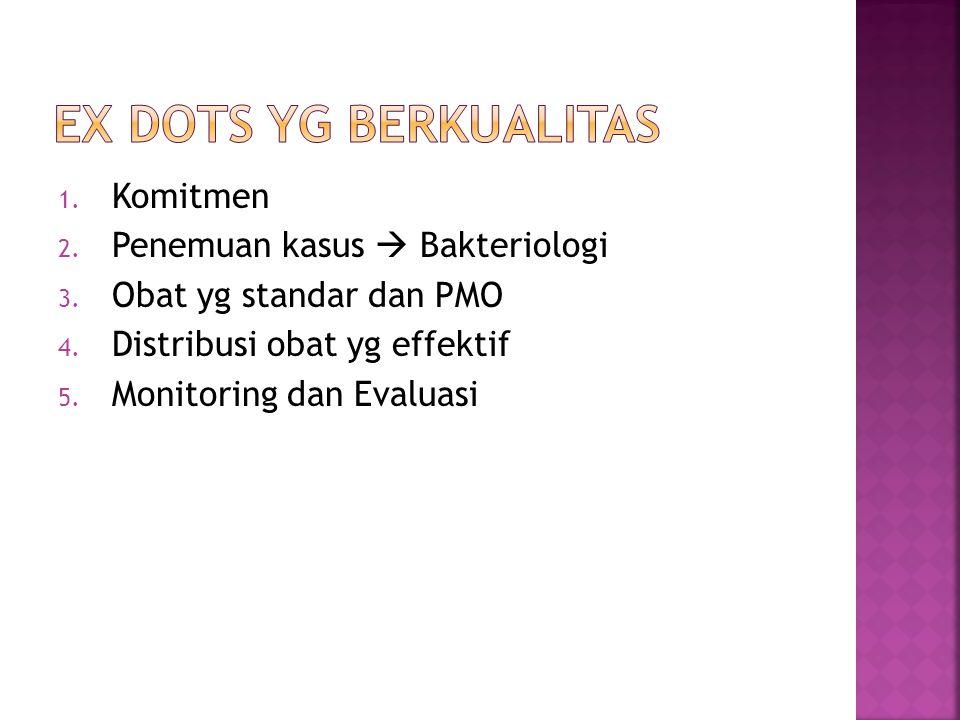 1. Komitmen 2. Penemuan kasus  Bakteriologi 3. Obat yg standar dan PMO 4. Distribusi obat yg effektif 5. Monitoring dan Evaluasi