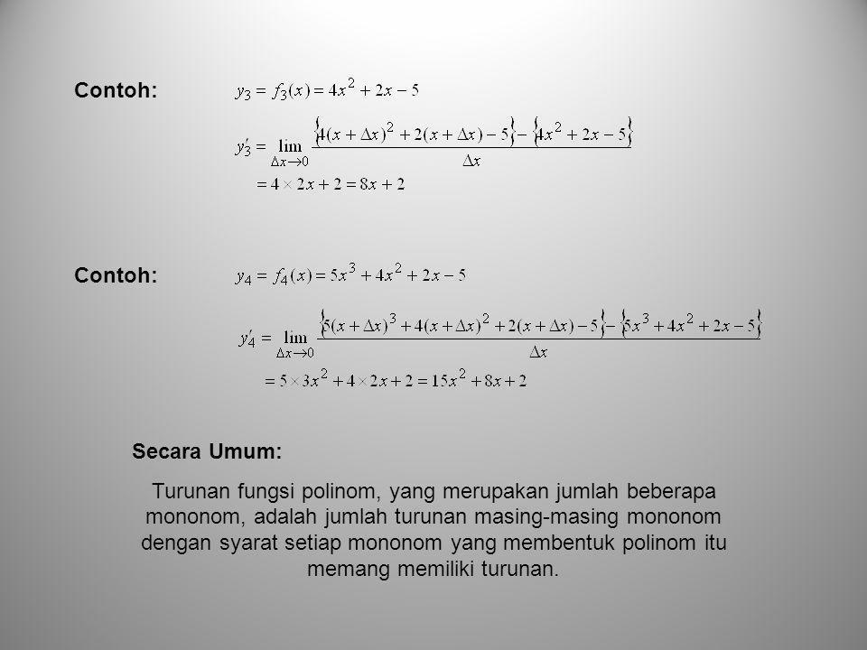 Secara Umum: Turunan fungsi polinom, yang merupakan jumlah beberapa mononom, adalah jumlah turunan masing-masing mononom dengan syarat setiap mononom yang membentuk polinom itu memang memiliki turunan.