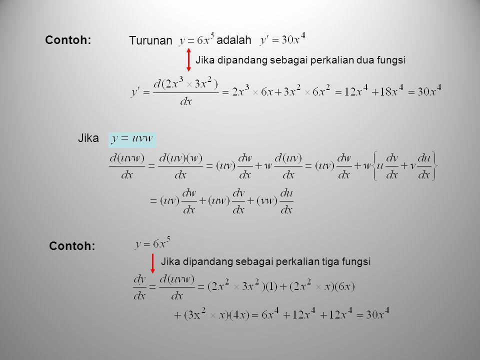 Contoh: Turunan adalah Jika dipandang sebagai perkalian dua fungsi Jika Contoh: Jika dipandang sebagai perkalian tiga fungsi