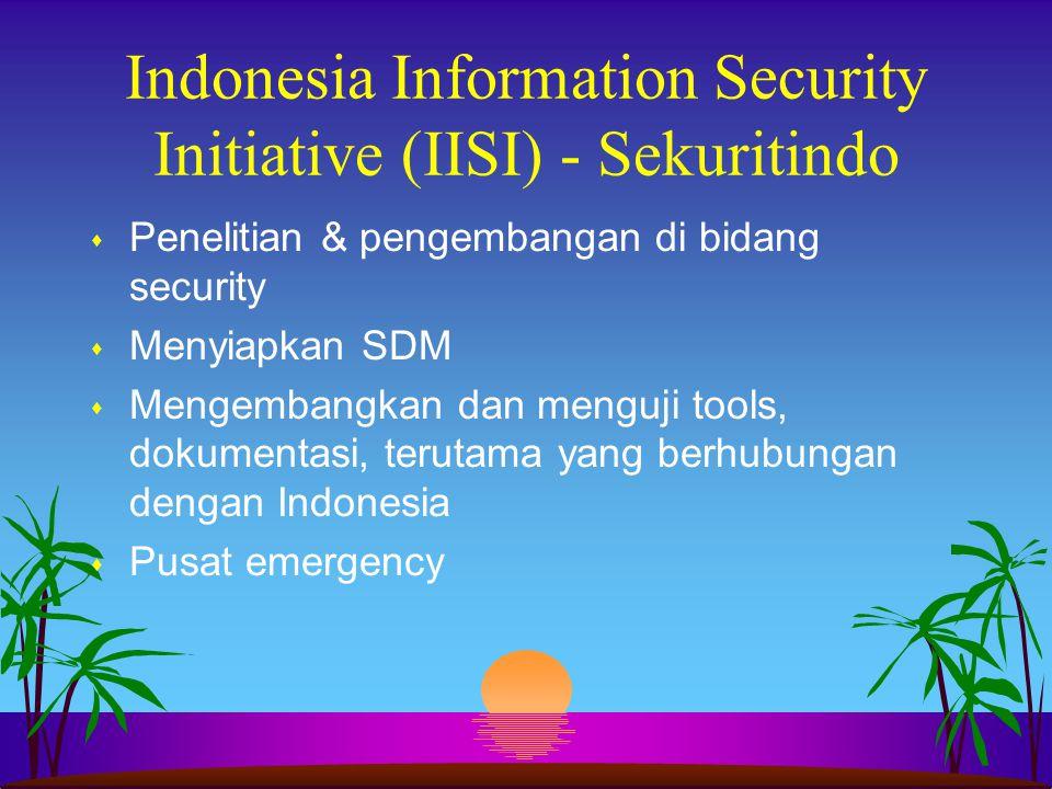 Indonesia Information Security Initiative (IISI) - Sekuritindo s Penelitian & pengembangan di bidang security s Menyiapkan SDM s Mengembangkan dan men