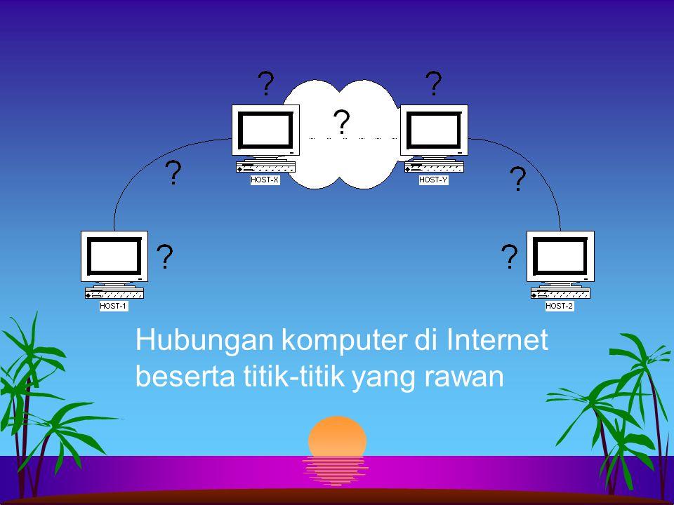 Hubungan komputer di Internet beserta titik-titik yang rawan