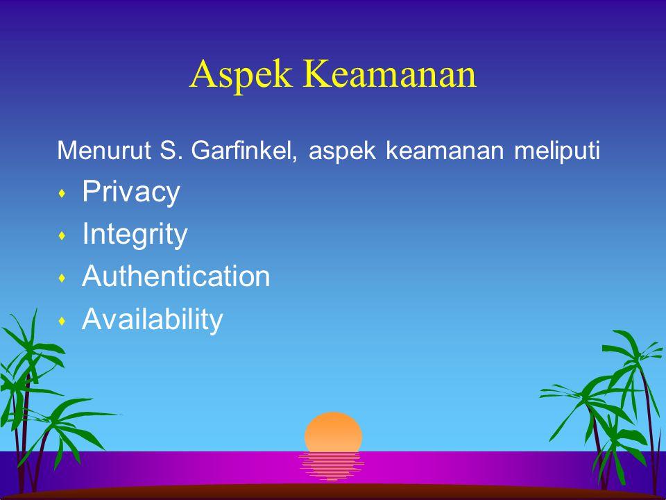 Aspek Keamanan Menurut S. Garfinkel, aspek keamanan meliputi s Privacy s Integrity s Authentication s Availability
