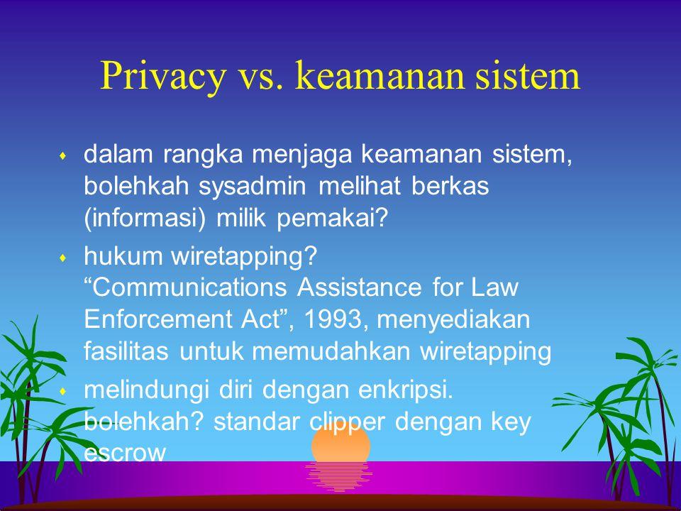 """Privacy vs. keamanan sistem s dalam rangka menjaga keamanan sistem, bolehkah sysadmin melihat berkas (informasi) milik pemakai? s hukum wiretapping? """""""