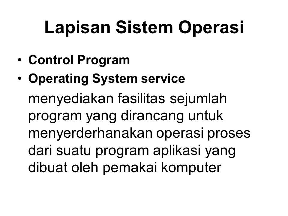 Lapisan Sistem Operasi Control Program Operating System service menyediakan fasilitas sejumlah program yang dirancang untuk menyerderhanakan operasi proses dari suatu program aplikasi yang dibuat oleh pemakai komputer