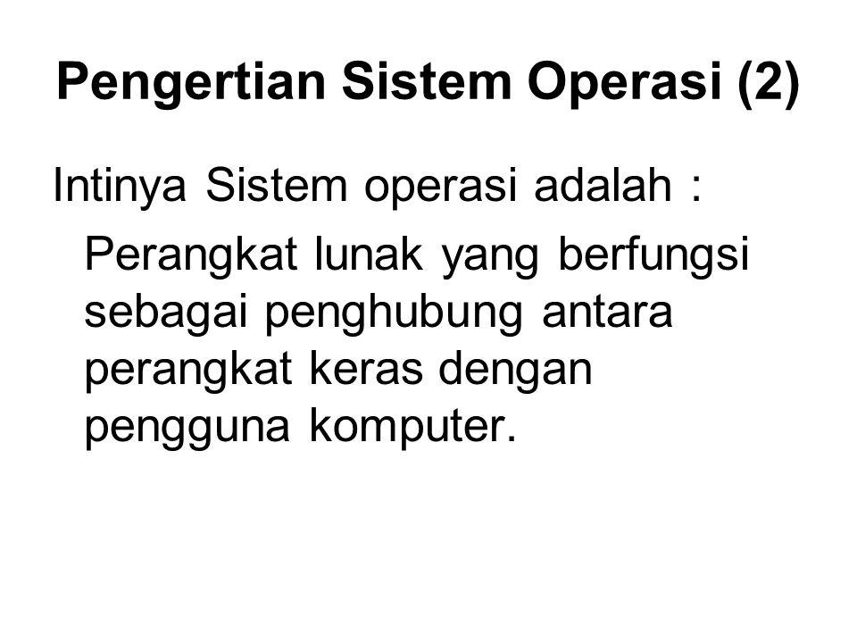 Pengertian Sistem Operasi (2) Intinya Sistem operasi adalah : Perangkat lunak yang berfungsi sebagai penghubung antara perangkat keras dengan pengguna