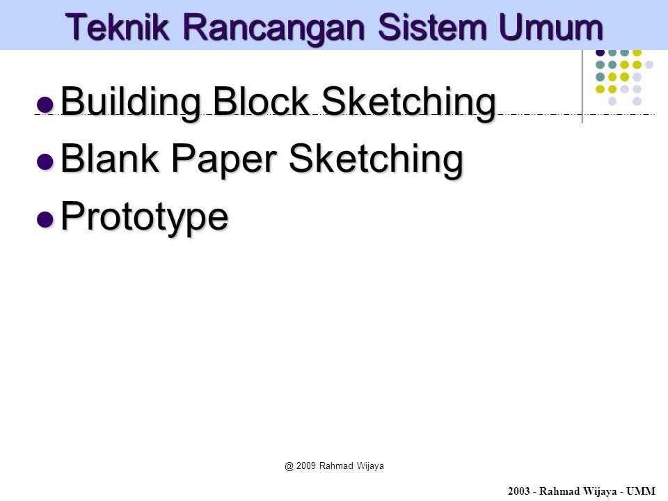 @ 2009 Rahmad Wijaya Teknik Rancangan Sistem Umum Building Block Sketching Building Block Sketching Blank Paper Sketching Blank Paper Sketching Protot