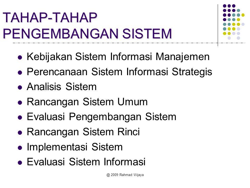 TAHAP-TAHAP PENGEMBANGAN SISTEM Kebijakan Sistem Informasi Manajemen Perencanaan Sistem Informasi Strategis Analisis Sistem Rancangan Sistem Umum Eval