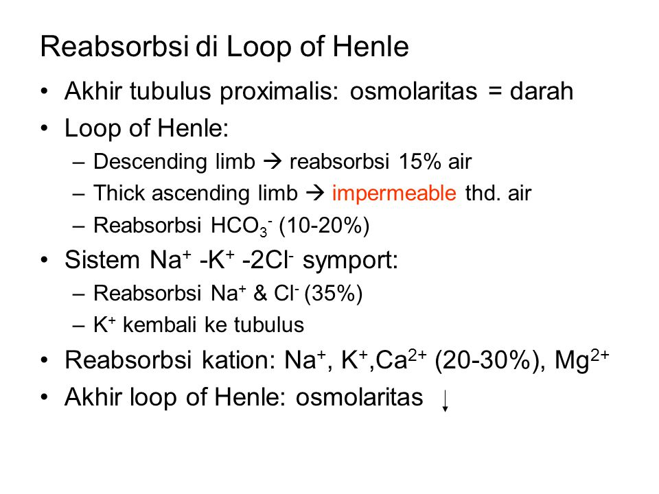 Reabsorbsi di Loop of Henle Akhir tubulus proximalis: osmolaritas = darah Loop of Henle: –Descending limb  reabsorbsi 15% air –Thick ascending limb 