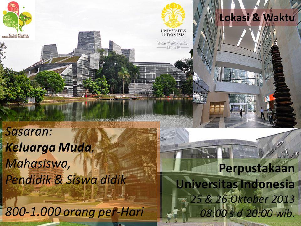 Perpustakaan Universitas Indonesia 25 & 26 Oktober 2013 08:00 s.d 20:00 wib. Sasaran: Keluarga Muda, Mahasiswa, Pendidik & Siswa didik 800-1.000 orang
