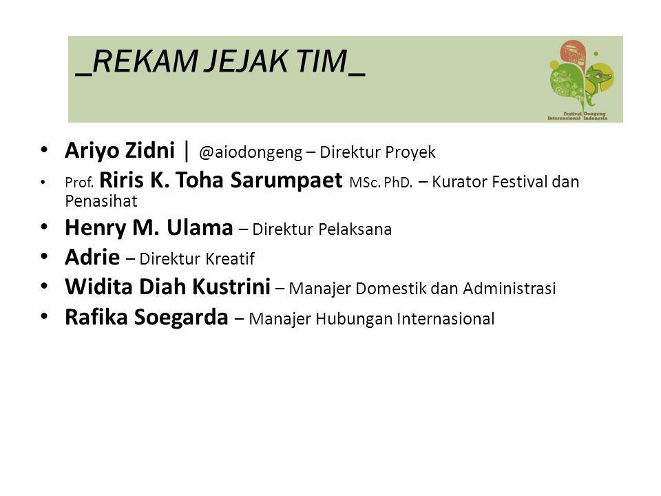 Ariyo Zidni | @aiodongeng – Direktur Proyek Prof. Riris K. Toha Sarumpaet MSc. PhD. – Kurator Festival dan Penasihat Henry M. Ulama – Direktur Pelaksa