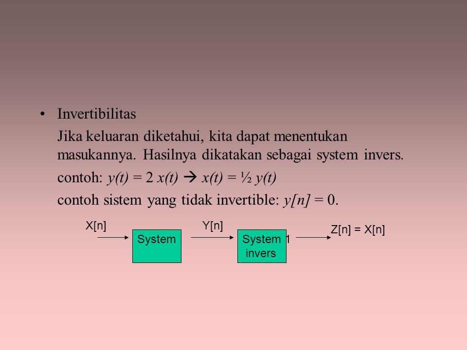 Invertibilitas Jika keluaran diketahui, kita dapat menentukan masukannya. Hasilnya dikatakan sebagai system invers. contoh: y(t) = 2 x(t)  x(t) = ½ y