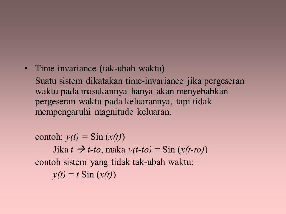 Time invariance (tak-ubah waktu) Suatu sistem dikatakan time-invariance jika pergeseran waktu pada masukannya hanya akan menyebabkan pergeseran waktu
