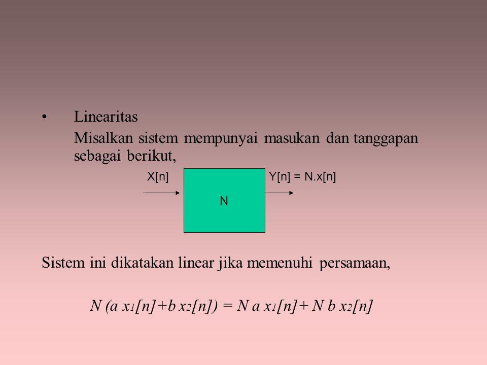 Linearitas Misalkan sistem mempunyai masukan dan tanggapan sebagai berikut, Sistem ini dikatakan linear jika memenuhi persamaan, N (a x 1 [n]+b x 2 [n