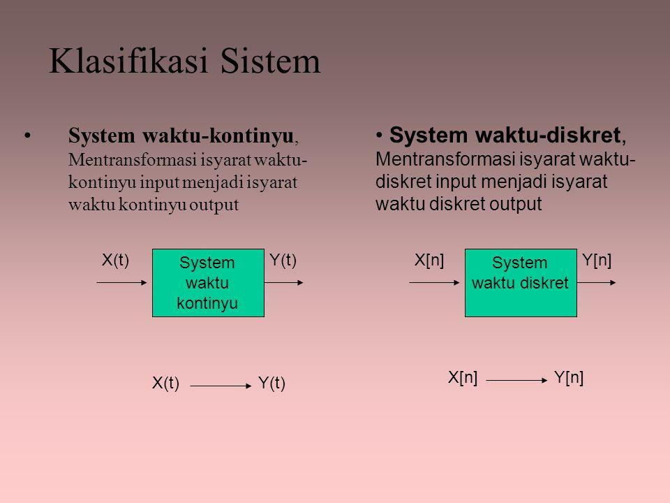 Klasifikasi Sistem System waktu-kontinyu, Mentransformasi isyarat waktu- kontinyu input menjadi isyarat waktu kontinyu output System waktu-diskret, Me