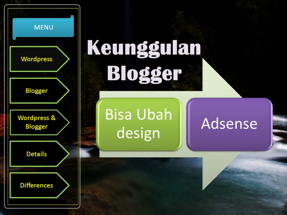 Bisa Ubah design Adsense Wordpress Blogger Wordpress & Blogger Details Differences MENU
