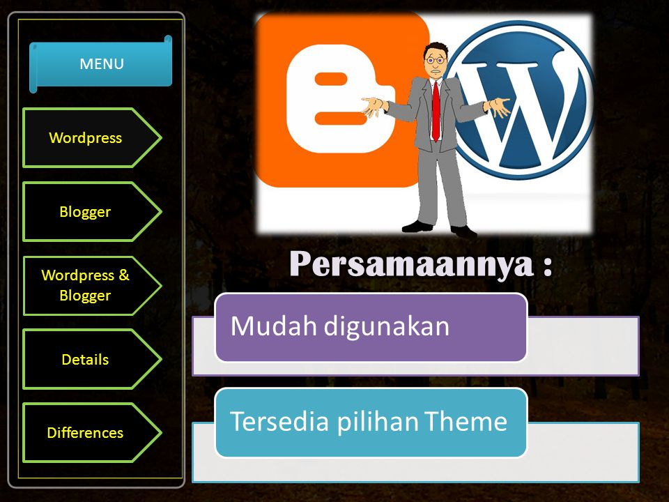 Mudah digunakanTersedia pilihan Theme Wordpress Blogger Wordpress & Blogger Details Differences MENU