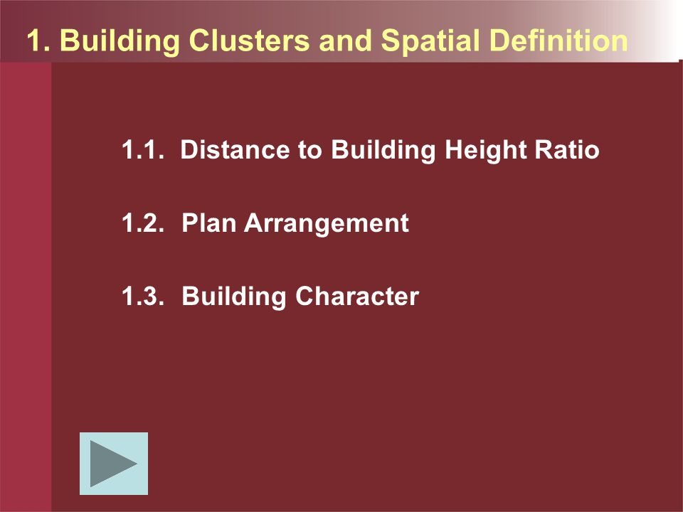 1. Building Clusters and Spatial Definition 1.1.
