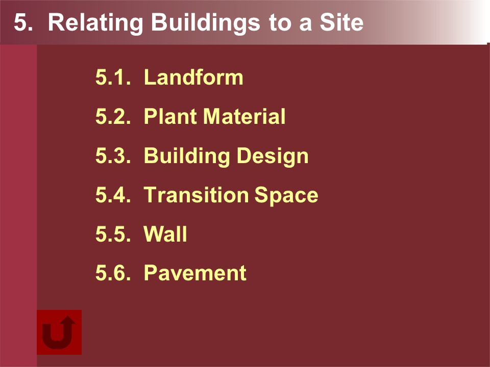 5. Relating Buildings to a Site 5.1. Landform 5.2.