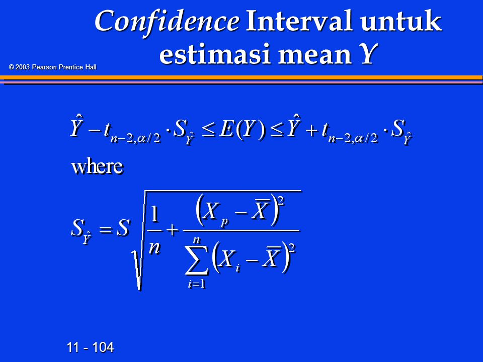 11 - 104 © 2003 Pearson Prentice Hall Confidence Interval untuk estimasi mean Y