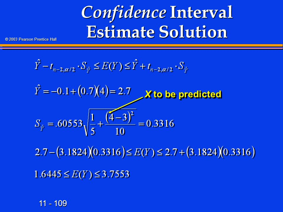 11 - 109 © 2003 Pearson Prentice Hall Confidence Interval Estimate Solution X to be predicted