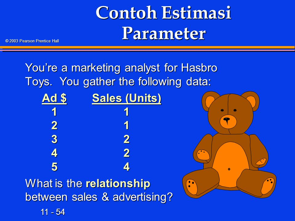 11 - 54 © 2003 Pearson Prentice Hall Contoh Estimasi Parameter You're a marketing analyst for Hasbro Toys.