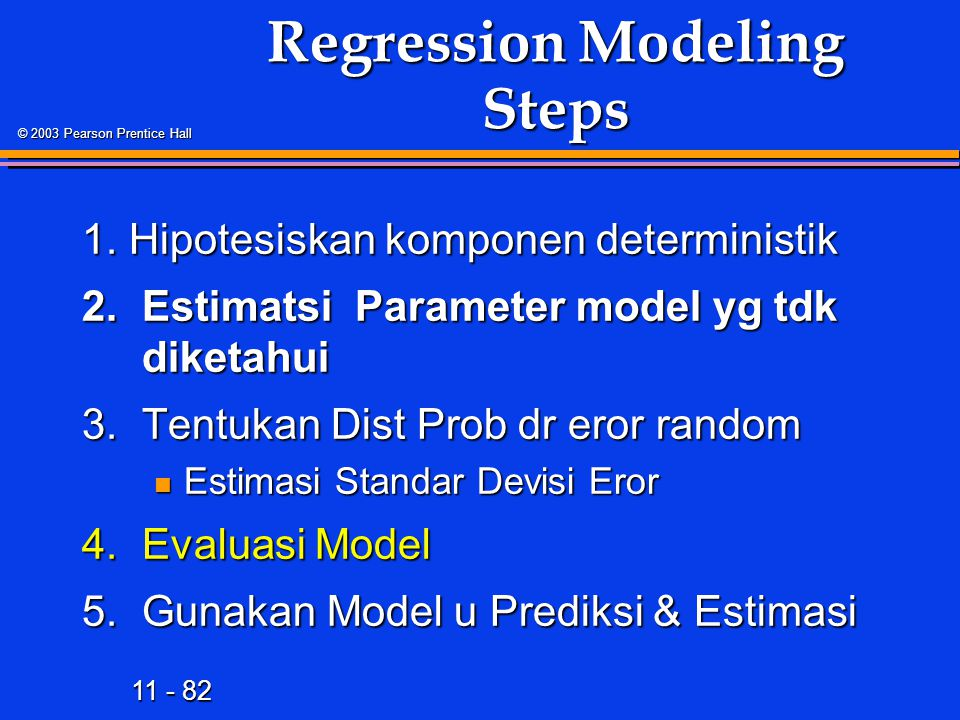 11 - 82 © 2003 Pearson Prentice Hall Regression Modeling Steps 1.