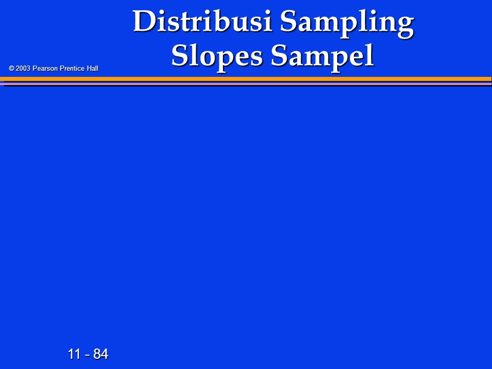 11 - 84 © 2003 Pearson Prentice Hall Distribusi Sampling Slopes Sampel