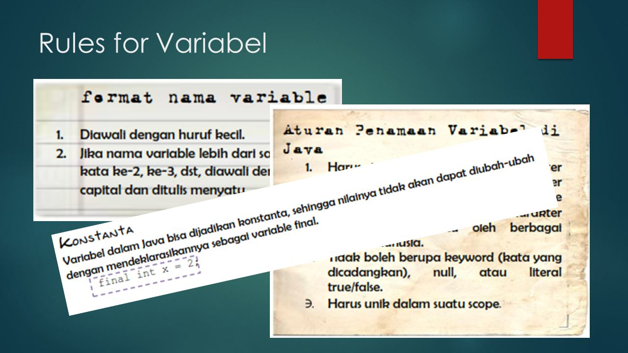 Rules for Variabel