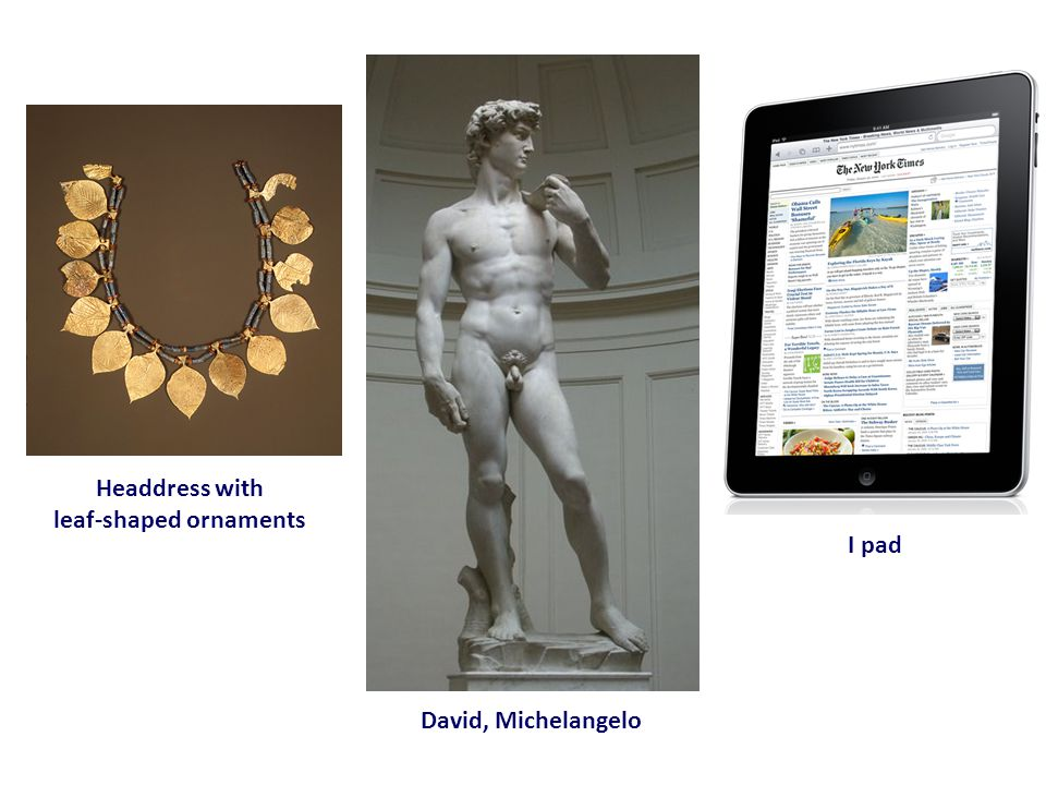 David, Michelangelo Headdress with leaf-shaped ornaments I pad