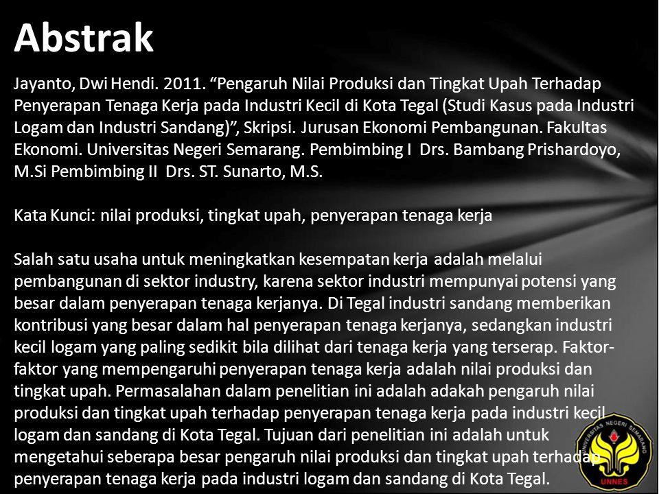 Dwi Hendi Jayanto Pengaruh Nilai Produksi Dan Tingkat Upah