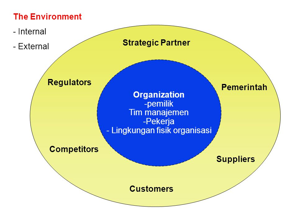 Organization -pemilik Tim manajemen -Pekerja - Lingkungan fisik organisasi Pemerintah Strategic Partner Customers Regulators Suppliers Competitors The Environment - Internal - External
