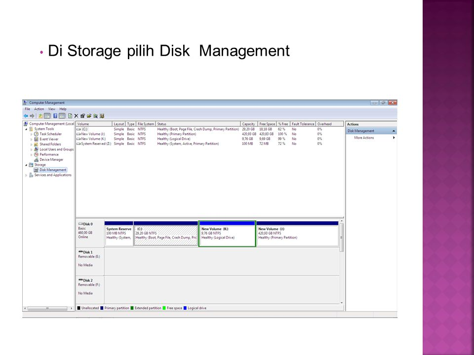 Di Storage pilih Disk Management
