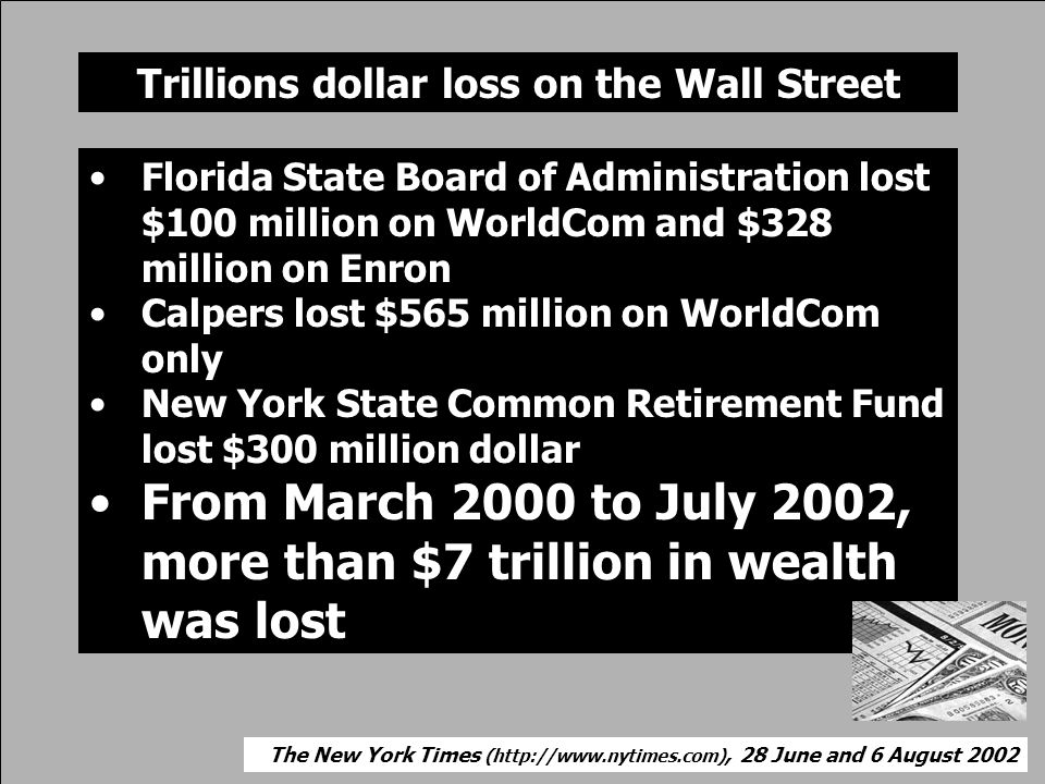 Trillions dollar loss on the Wall Street •Florida State Board of Administration lost $100 million on WorldCom and $328 million on Enron •Calpers lost $565 million on WorldCom only •New York State Common Retirement Fund lost $300 million dollar •From March 2000 to July 2002, more than $7 trillion in wealth was lost The New York Times (  28 June and 6 August 2002