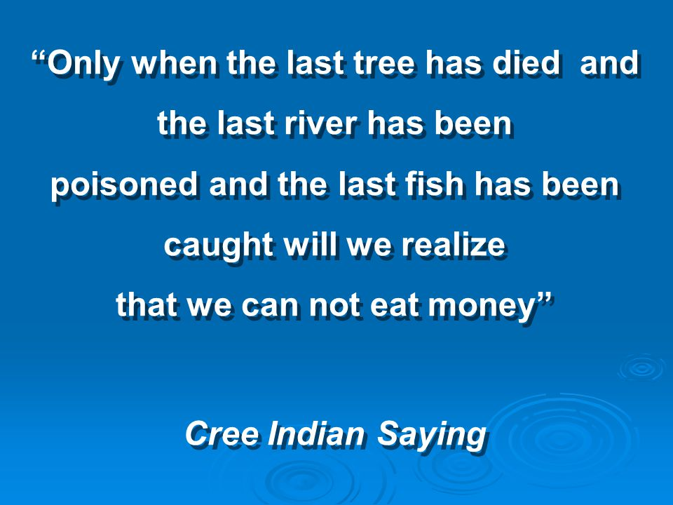 Only when the last tree has died and the last river has been poisoned and the last fish has been caught will we realize that we can not eat money Cree Indian Saying Only when the last tree has died and the last river has been poisoned and the last fish has been caught will we realize that we can not eat money Cree Indian Saying