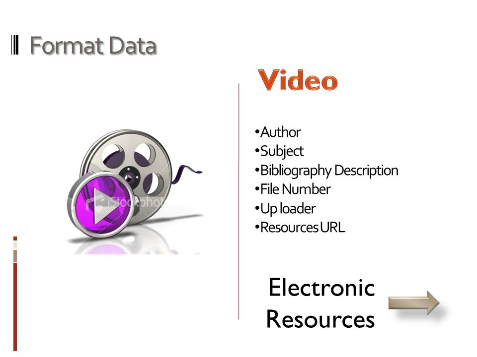 Format Data • Author • Subject • Bibliography Description • File Number • Up loader • Resources URL Electronic Resources