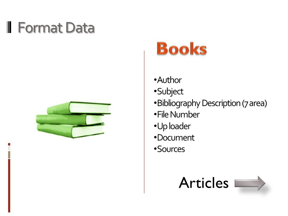 Format Data • Author • Subject • Bibliography Description (7 area) • File Number • Up loader • Document • Sources Articles