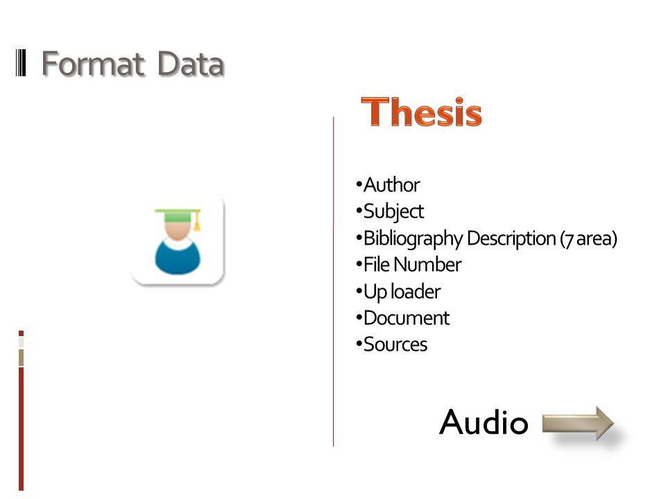 Format Data • Author • Subject • Bibliography Description (7 area) • File Number • Up loader • Document • Sources Audio