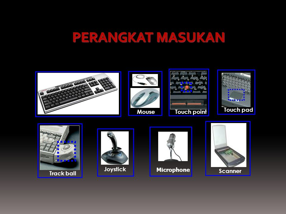 Touch pad Track ball Touch point Scanner Keyboard MouseJoystick Microphone PERANGKAT MASUKAN