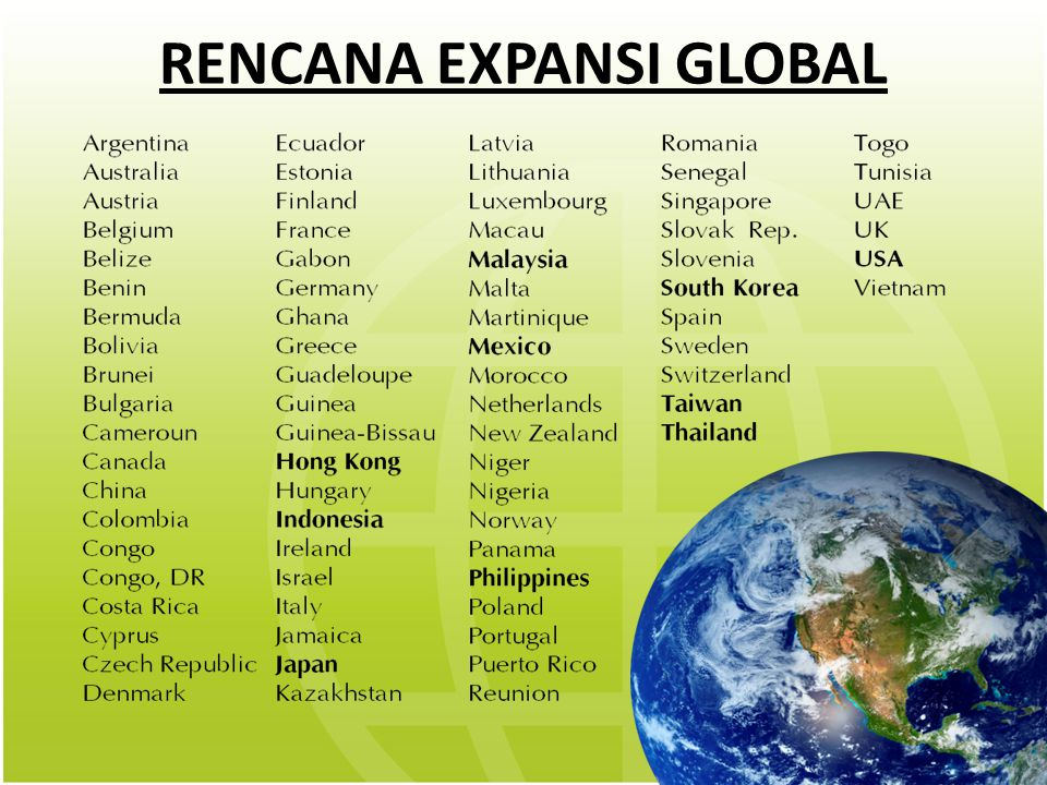RENCANA EXPANSI GLOBAL